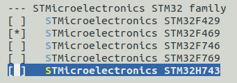 "Kernel ""System type - STMicroelectronics"" menu"